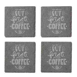 But First Coffee Engraved Slate Coaster Set