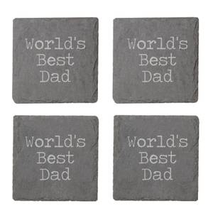 World's Best Dad Engraved Slate Coaster Set