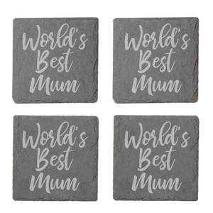 World's Best Mum Engraved Slate Coaster Set