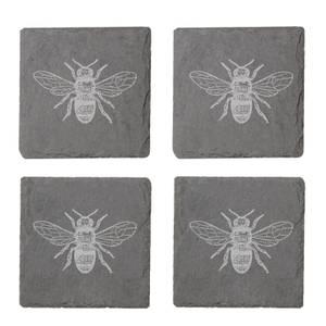 Bee Engraved Slate Coaster Set