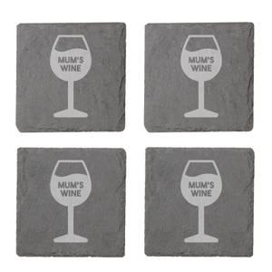 Mum's Wine Engraved Slate Coaster Set