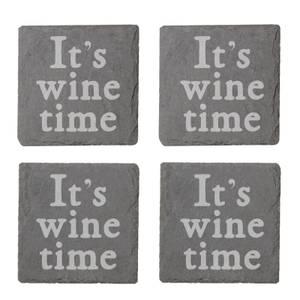 It's Wine Time Engraved Slate Coaster Set