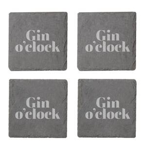 Gin O'Clock Engraved Slate Coaster Set