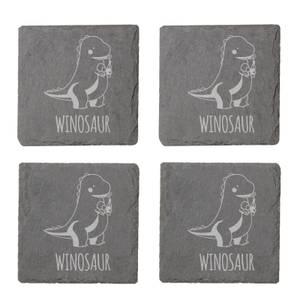 Winosaur Engraved Slate Coaster Set