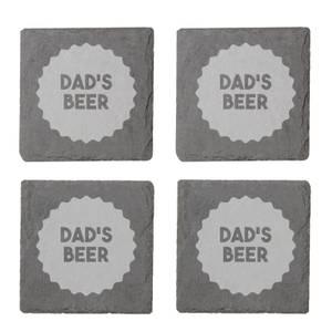 Dad's Beer Engraved Slate Coaster Set