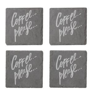 Coffee Please Engraved Slate Coaster Set