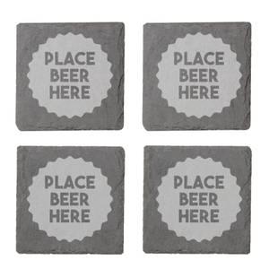 Place Beer Here Engraved Slate Coaster Set