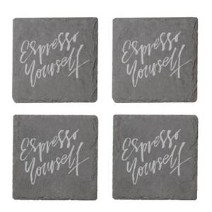 Espresso Yourself Engraved Slate Coaster Set