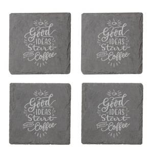 Good Ideas Start With Coffee Engraved Slate Coaster Set