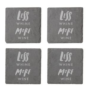 Less Whine More Wine Engraved Slate Coaster Set