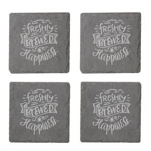 Freshly Brewed Happiness Engraved Slate Coaster Set