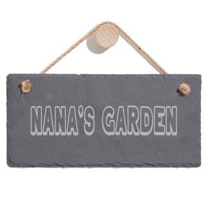 Nana's Garden Engraved Slate Hanging Sign