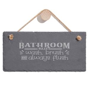 Bathroom Wash Brush Always Flush Engraved Slate Hanging Sign