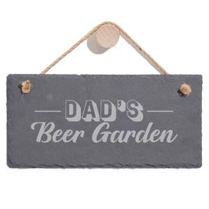 Dad's Beer Garden Engraved Slate Hanging Sign