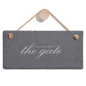 Please Shut The Gate Engraved Slate Hanging Sign