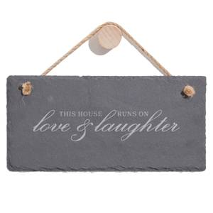 This House Runs On Love And Laughter Engraved Slate Hanging Sign