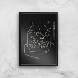 Astronaut And Fishes Giclee Art Print