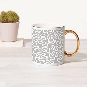 Squiggles Bone China Gold Handle Mug