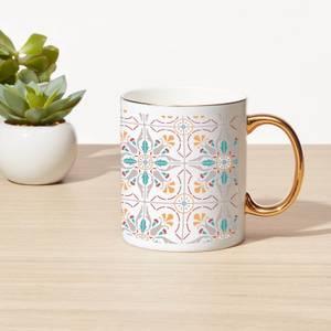 Summer Tile Bone China Gold Handle Mug