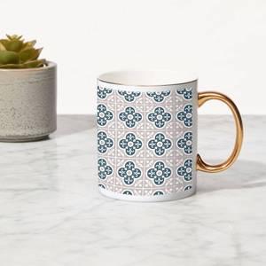 Clover Tile Bone China Gold Handle Mug
