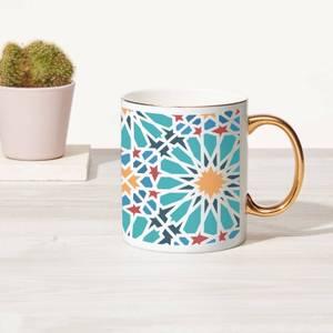 Flower Tile Bone China Gold Handle Mug