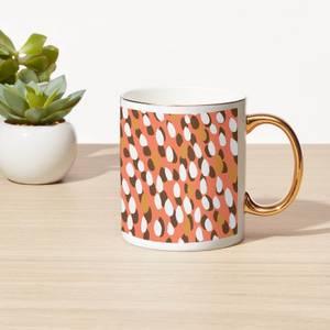 Warm Tone Brush Strokes Bone China Gold Handle Mug