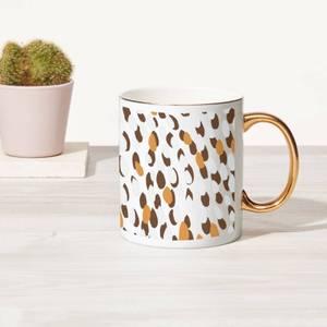 Abstract Brush Strokes Bone China Gold Handle Mug
