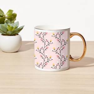 Flower Vine Bone China Gold Handle Mug