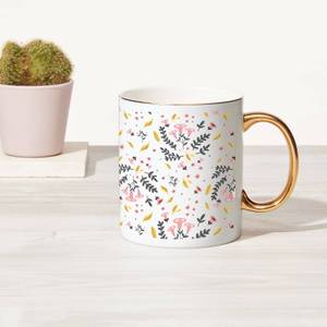 Mixed Ferns Bone China Gold Handle Mug