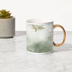 Marble Bone China Gold Handle Mug