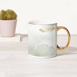 Light Marble Bone China Gold Handle Mug