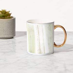 Brush Stripes Bone China Gold Handle Mug