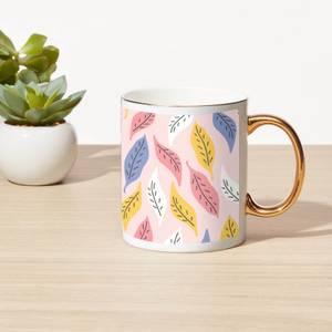 Multi Coloured Leaves Bone China Gold Handle Mug