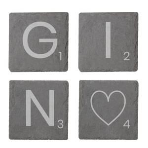 Gin Engraved Slate Coaster Set