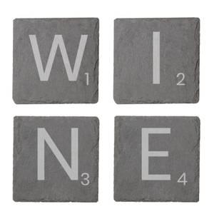 Wine Engraved Slate Coaster Set