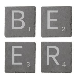 Beer Engraved Slate Coaster Set