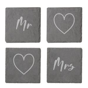 Mr And Mrs Engraved Slate Coaster Set