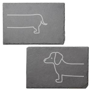 Sausage Dog Engraved Slate Placemat - Set of 2