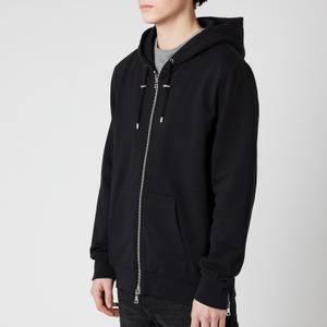 Balmain Men's Resin Logo Zipped Hoodie - Black