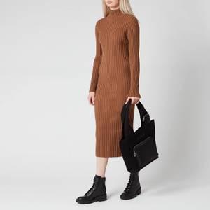 KENZO Women's Skinny Rib Long Dress - Chestnut