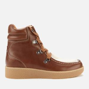 Isabel Marant Women's Alpica Shearling Hiking Style Boots - Cognac