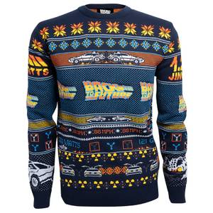 Back to the Future Christmas Knitted Sweater - Navy
