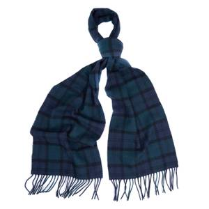 Barbour Men's Tartan Lambswool Scarf - Navy Watch