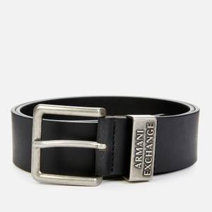 Armani Exchange Men's Metal Logo Keeper Belt - Black