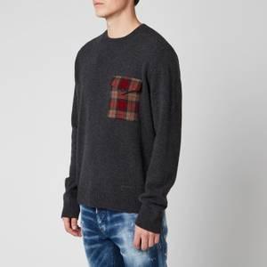 Dsquared2 Men's Check Pocket Knitted Jumper - Dark Grey/Check