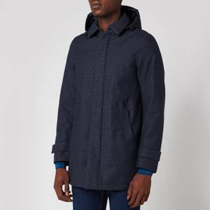 Herno Men's Laminar Hooded Car Coat - Blue Check