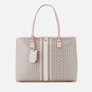 Tory Burch Women's Gemini Link Canvas Top Zip Tote Bag - Coastal Pink Gemini Link