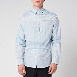 Lanvin Men's Adjustable Cuff Check Shirt - Blue/Pink