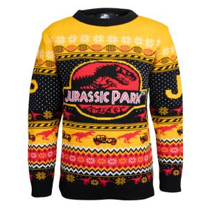 Jurassic Park Kids Christmas Knitted Jumper - Yellow