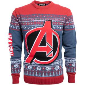 Marvel Avengers Kids Christmas Knitted Jumper - Navy